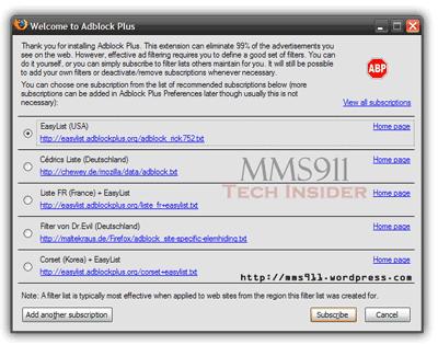 AdBlock Plus WelcomeScreen