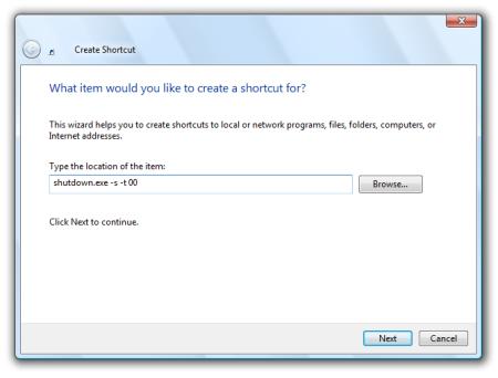 Shutdown Command for Windows Vista
